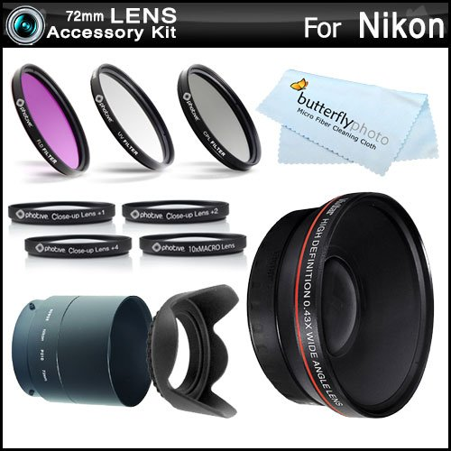 Essential Lens Kit For The Nikon Coolpix P510 Digital Camera Includes Necessary Tube Adapter (72Mm) + 72Mm Hd .43X Wide Angle Lens W/ Macro + 72Mm Close Up Lens Kit Includes +1 +2 +4 +10 + 3Pc High Res Filter Kit (Uv-Cpl-Fld) + Lens Hood + More