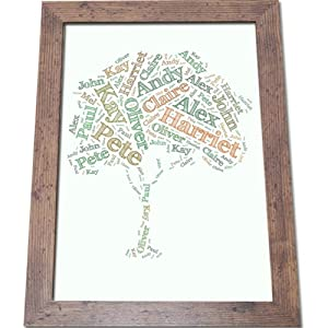 Family Tree Personalised Word Cloud (A3 Framed)