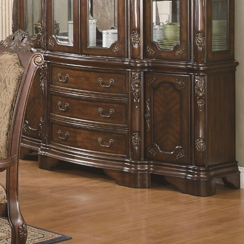 Cheap Buffet with Carved Detail in Brown Cherry Finish (VF_AZ00-84675×38199)