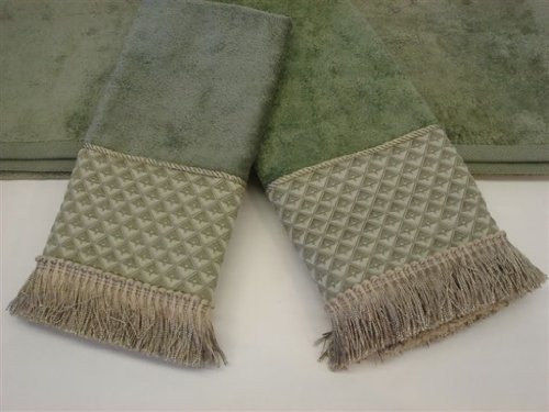 amore sage 3 piece decorative towel set - Decorative Hand Towels