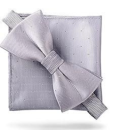 Flairs New York Gentleman Essentials Bow Tie and Pocket Square Matching Set (Regular Bow Tie & Pocket Square Set, Platinum Silver [Glitter Dot Print])