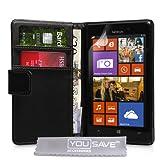 Custodia Nokia Lumia 925 Cover PU Cuoio Portafoglio Nero