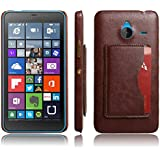 For Nokia Lumia 640 XL Phone Cover, Moonmini® For Nokia Lumia 640 XL Hard PC Snap-On Back Case Cover with Card Holders and Stand Function (Brown)