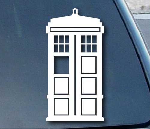 "Doctor Who Tardis Car Window Vinyl Decal Sticker 5"" Tall (Color: White) by Imperial Graphics"