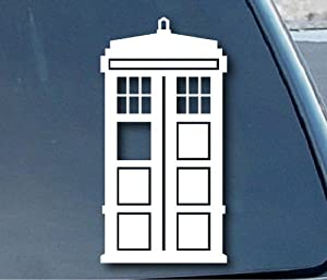 "Doctor Who Tardis Car Window Vinyl Decal Sticker 5"" Tall (Color: White)"