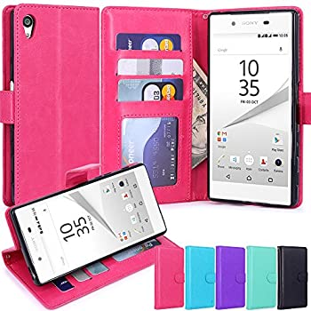 9. LK [Kickstand Feature] Luxury PU Leather Case Flip Cover with Card Slots & Stand For Sony Xperia Z5