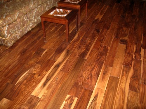 3 4 handscraped asian walnut acacia solid prefinished for Acacia hardwood flooring