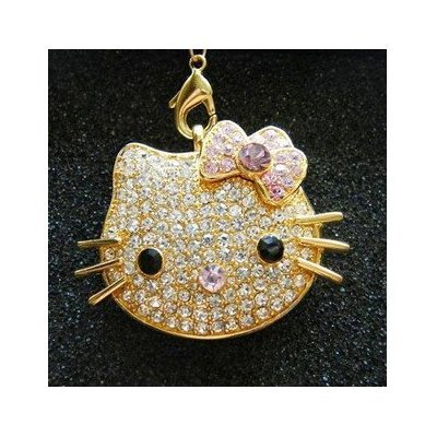 High Quality 8 GB Hello Kitty Shape Crystal Jewelry USB Flash Memory Drive Keychain (GOLDEN) from T &  J