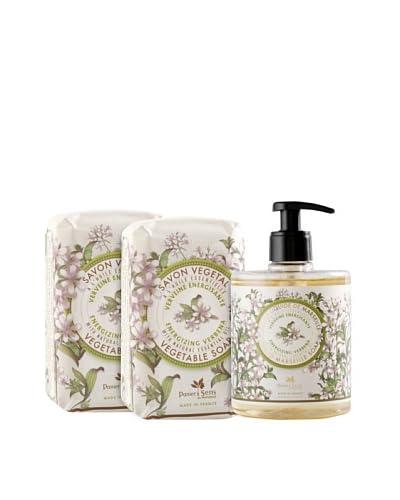 Panier des Sens Energizing Verbena Liquid Soap and Vegetable Soaps, Set of 3