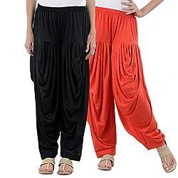 NumBrave Black,Red Viscose Dhoti Salwar Combo Of 2