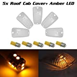 Partsam 5pc Roof Light Cab Marker Clear Cover+168 Amber 10-3528-SMD LED Bulb for 1988-2002 Chevy/GMC C/K1500/2500/3500/4500/5500/6500/7500 Kodiak Topkick trucks