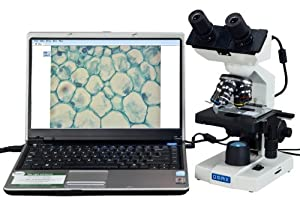 OMAX 40X-2000X Digital Lab LED Binocular Compound Microscope with Built-in 1.3MP USB Camera and Double Layer Mechanical Stage