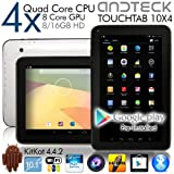 TouchTab 10.1 in Quad Core 16GB 4.4.2 KitKat Google Android Tablet PC, Wifi, HDMI, Bluetooth [2014] (White 10.1-inch)