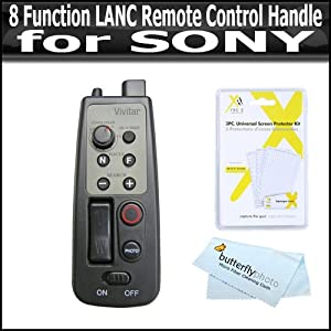 8 Function LANC Remote Control for Sony HDR-CX110,HDR-CX130,HDR-CX160,HDR-CX360V,HDR-CX560V,HDR-CX700V,HDR-HC9,HDR-PJ10,HDR-PJ30V,HDR-PJ50V,HDR-TD10,HDR-XR150,HDR-XR160 HDR-XR550V HD Handycam Camcorder ( Replaces RM-1BP RM1BP) + Free lens Cleaning Kit