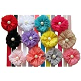 QS® Baby Girl Headbands with chiffon flower and Mini pearl (Pack of 12)