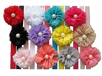 QS Baby Girl Headbands with chiffon flower and Mini pearl (Pack of 12)