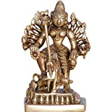 Hindu Goddess Durga Brass Sculpture Antiques Collectibles 7.62 X 5.72 X 12.70 Cmby ShalinCraft