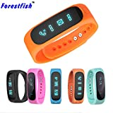 Bluetooth Sync Smart Bracelet Sport Fitness Tracker Smart Wristband Water Resistant Fitness Tracker Bracelet Sleep Monitoring Calorie Function Anti-lost Smart Watch (Orange)