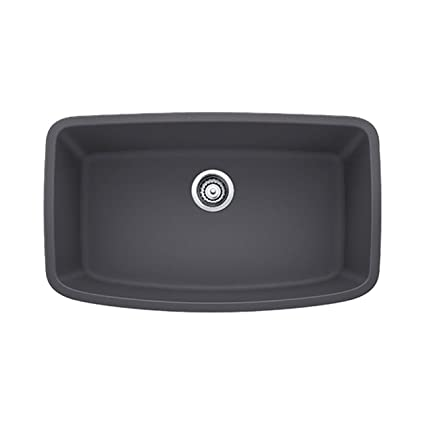 Blanco 441611 Valea Super Undermount Single Bowl Kitchen Sink, Large, Cinder