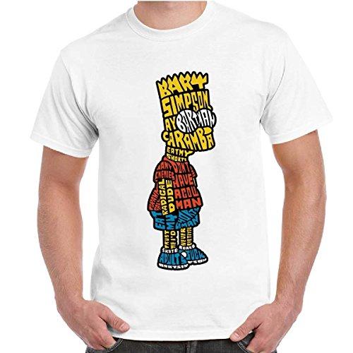 T-Shirt Uomo Maglietta Divertente Cartoni Animati The Simpsons Con Stampa Bart, Colore: Bianco, Taglia: M