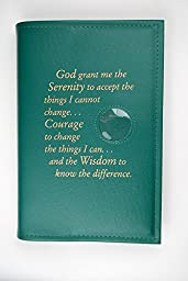 Alcoholics Anonymous AA Big Book Cover Serenity Prayer & Medallion Holder Green
