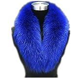 Large Long Detachable Natural Fox Fur Collar for Winter (80CM, blue)