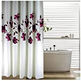 Eforgift 72-inch By 78-inch Floral Shower Curtain Fabric Polyester Waterproof/ No More Mildews Bathroom Curtains with Free Rings, Purple/White ,Extra-long