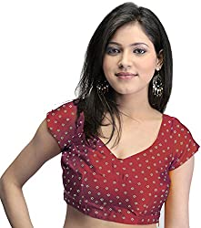 Exotic India Bollywood Printed Bandhej Choli with Dori Back - Color RedGarment Size Small