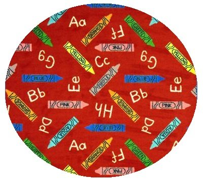 Crayons Red Multi - 8' Round Custom Stainmaster Premium Nylon Carpet Area Rug ~ Bound Finished Edges front-1049870