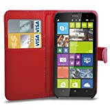 Nokia Lumia 1320 Leather Wallet Flip Case Cover Pouch + Screen Guard & Cleaning Cloth - Red