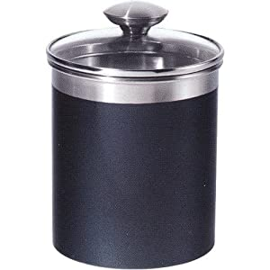 amazon com stainless steel black kitchen canister set of