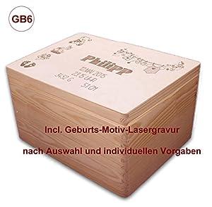 zur Geburt, große Holz-Geschenkbox Gr. 3, Kiefer incl. Auswahl-Lasergravur (GB6)
