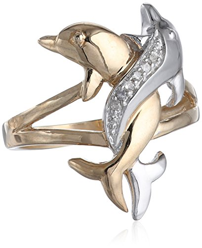 10k Two-Tone Gold Diamond-Accent Intertwined Dolphin Ring, Size 9