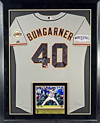 San Francisco Giants Madison Bumgarner Autographed Jersey w/ 2014 World Series Patch with Inset WS 8x10 Photo and Floating Plate Framed (COA)