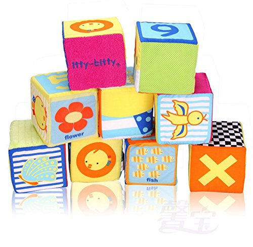 [eonkoo Cloth Number Building Stack Blocks Educational Toys Kids Toy Rattles Set 9 Pcs] (Animals That Start With The Letter B)
