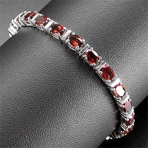 925 Silver Bracelet with Spessartite Garnet (Natural)