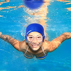 AZSPORT Swim Cap, Nose Clips and Ear Plugs Included, Blue by AZSPORT