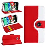 Magic Global Gadgets - Red Retro Leather Flip Book Wallet Case Cover Pouch For HTC One M8 (2014 Version) With Media Stand For With Screen Guard / Cleaning Cloth / Mini Stylus