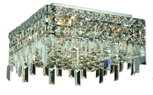 Elegant Lighting 2033F12C/RC Maxim 7-Inch High 4-Light Flush Mount, Chrome Finish with Crystal (Clear) Royal Cut RC Crystal