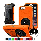iPhone 6 Plus Case - Fintie Commander Series Three Layer Hard Shell Cover Holster with Built-in Rotating Stand and Belt Swivel Clip for Apple iPhone 6 Plus (5.5), Black/Orange