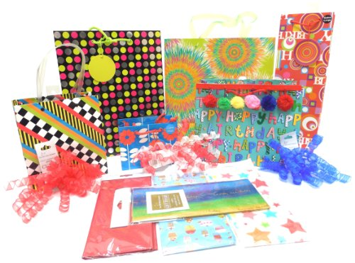 The Gift Wrap Company Assorted Bold, Bright Birthday Gift Bag, Tissue and Ribbon Set