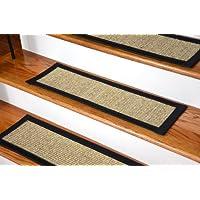 Dean Attachable Non-Skid Sisal Carpet Stair Treads - Desert/Black (Set of 13)