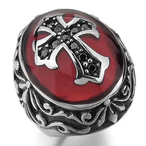 Men'S Stainless Steel Ring Cz Silver Black Red Cross Knight Fleur De Lis Oval Vintage Size11