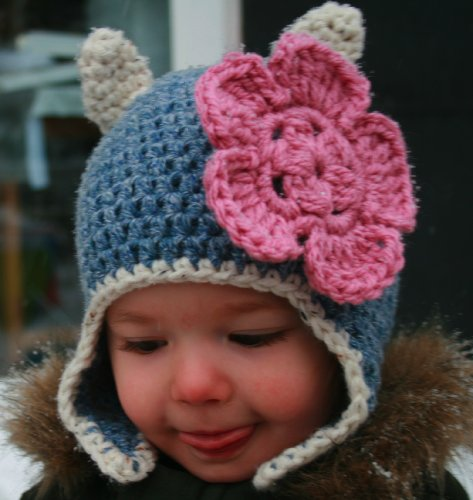 Crochet pattern, baby cat beanie hat with earflaps includes 4 sizes from baby to adult (Crochet Animal hats Book 1)