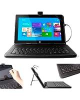 DURAGADGET Etui clavier QWERTY pour tablettes Microsoft Surface Pro et RT tous modèles (1 et 2) - aspect cuir noir avec port de maintien intégré + stylet tactile BONUS - Garantie 2 ans
