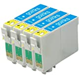 4 Compatible Light Cyan Printer Ink Cartridges to replace T0805 for use in Epson Stylus Photo P50, PX650, PX660, PX700W, PX710W, PX720WD, PX800FW, PX810FW, R265, R285, R360, RX560, RX585, RX685