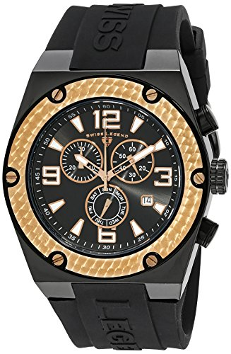 Swiss Legend Men's 30025-BB-01-RB Throttle Stainless Steel and Black Silicone Watch