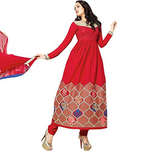 Red Angelnx Women's Unstitched Salwar Suit (Red_Free Size)