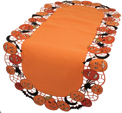 Xia Home Fashions Happy Jack-O-Lanterns 12 By 48-Inch Table Runner, Mini front-641620