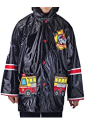 Boy's Fire Dog Rain Coat - Sizes X-Small 4/5 and Small 6/7